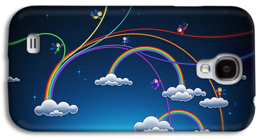 Abstract Galaxy S4 Case featuring the drawing Fairies Made Rainbow by Gianfranco Weiss