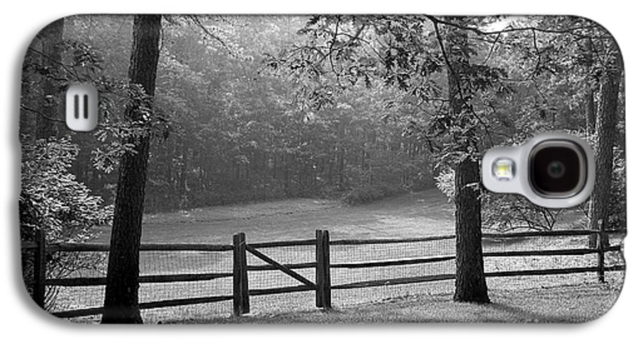 Black & White Galaxy S4 Case featuring the photograph Fence by Tony Cordoza