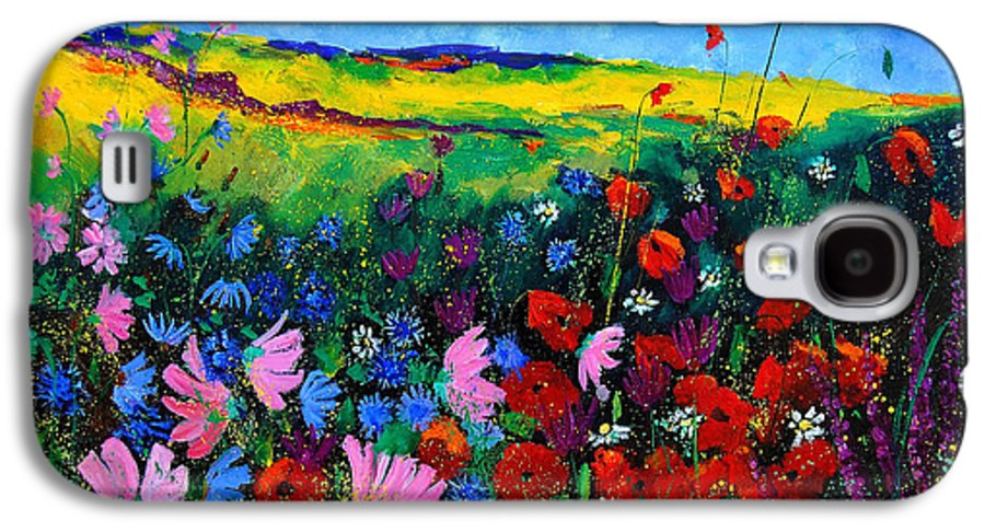 Poppies Galaxy S4 Case featuring the painting Field Flowers by Pol Ledent