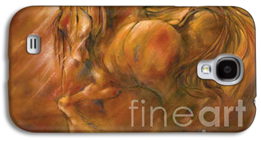 Horse Galaxy S4 Case featuring the painting Fire by Wendy Froshay