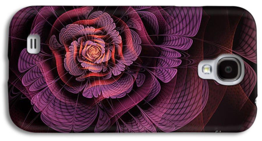 Purple Fractal Flower Galaxy S4 Case featuring the digital art Fleur Pourpre by John Edwards