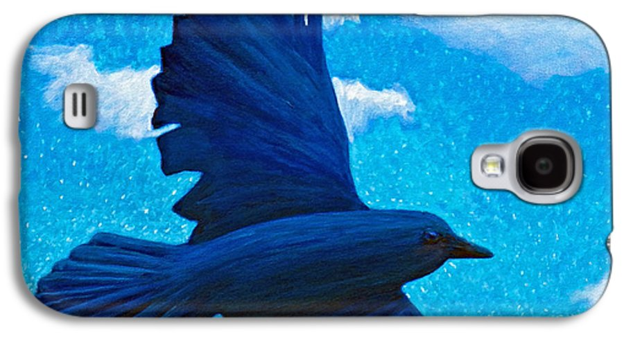 Raven Galaxy S4 Case featuring the painting Flight by Brian Commerford