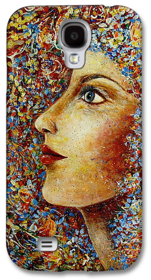 Flower Goddess Galaxy S4 Case featuring the painting Flower Goddess. by Natalie Holland