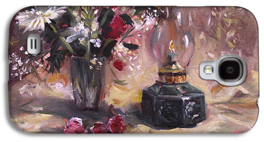 Flowers Galaxy S4 Case featuring the painting Flowers With Lantern by Nancy Griswold