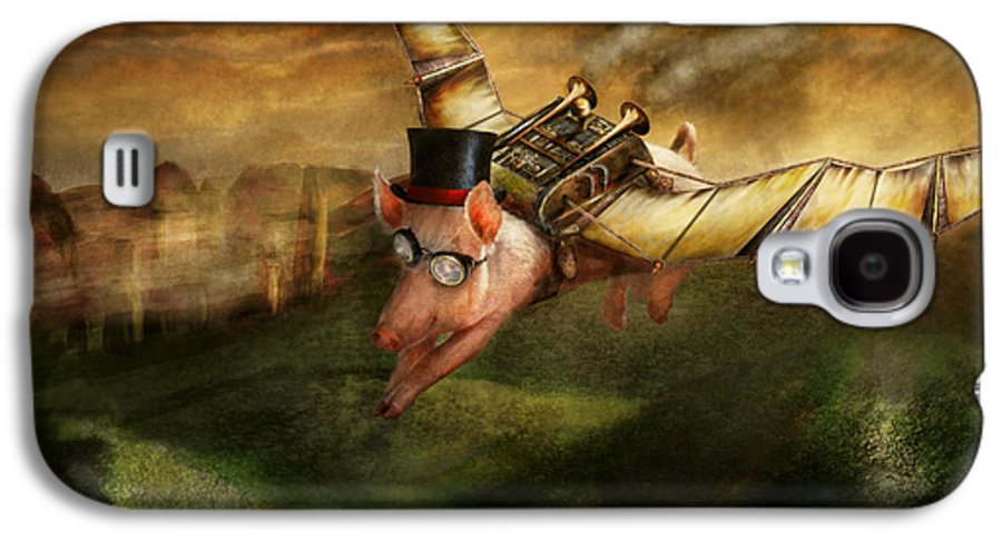 Pig Galaxy S4 Case featuring the photograph Flying Pig - Steampunk - The Flying Swine by Mike Savad