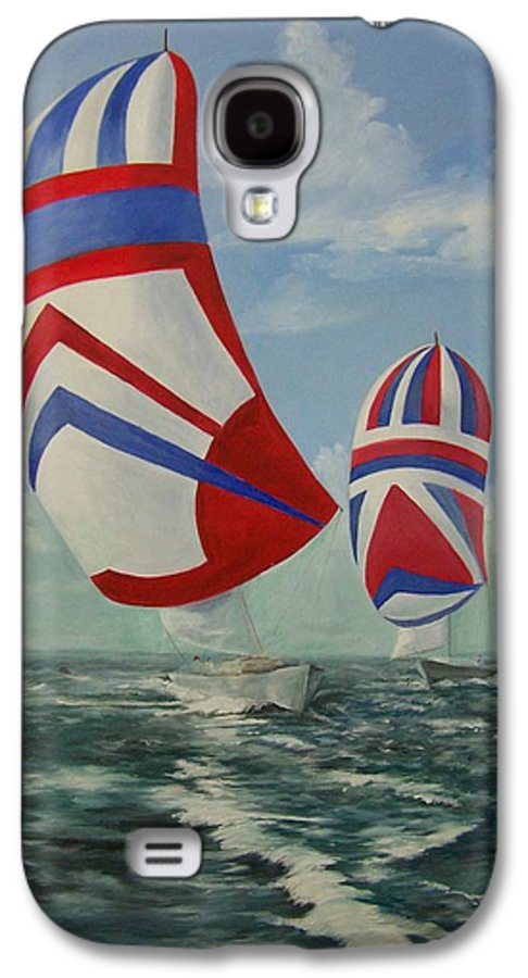 Sailing Ships Galaxy S4 Case featuring the painting Flying The Colors by Wanda Dansereau