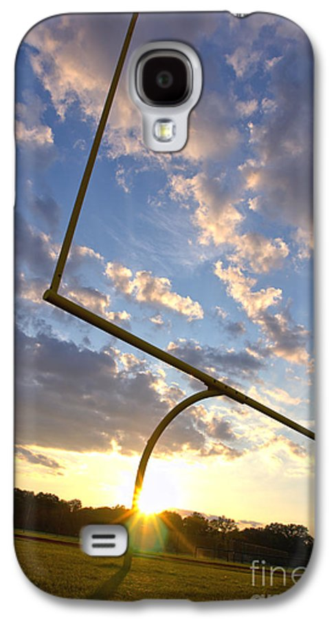 Football Galaxy S4 Case featuring the photograph Football Goal At Sunset by Olivier Le Queinec
