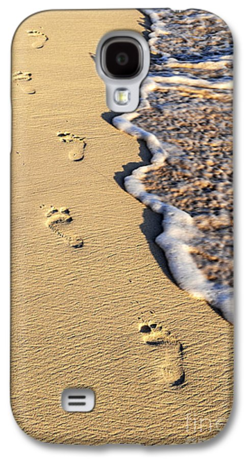 Footprints Galaxy S4 Case featuring the photograph Footprints On Beach by Elena Elisseeva