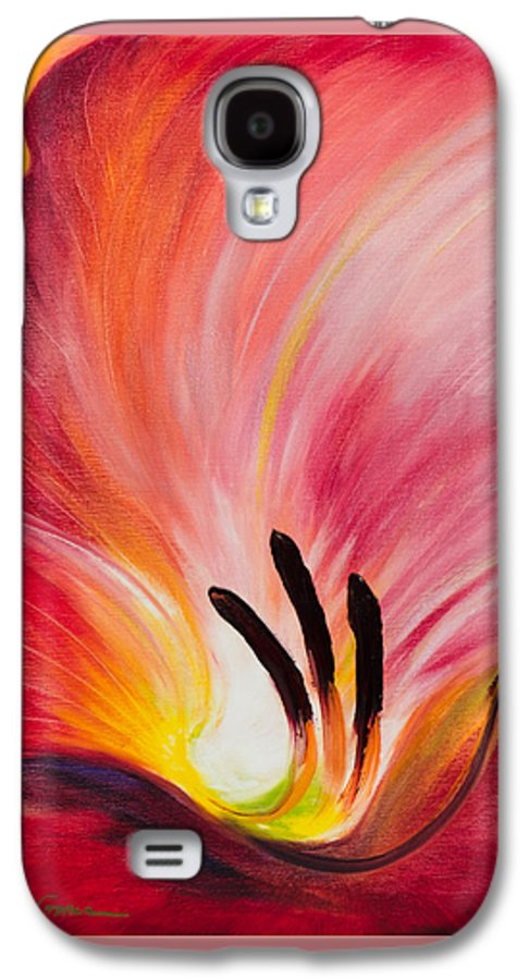 Red Galaxy S4 Case featuring the painting From The Heart Of A Flower Red I by Gina De Gorna