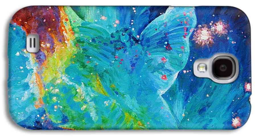 Galactic Angel Galaxy S4 Case featuring the painting Galactic Angel by Julie Turner