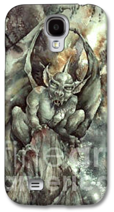 Gargoyle Galaxy S4 Case featuring the painting Gargoyle by Wendy Froshay