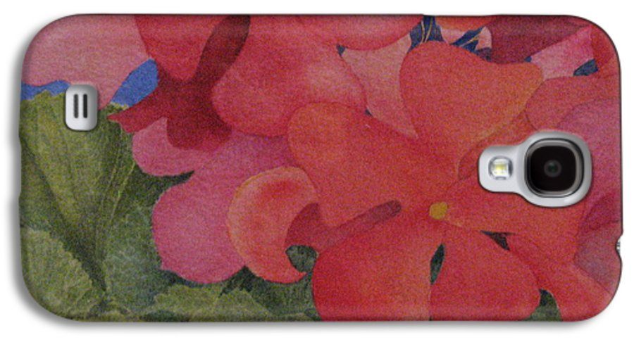 Florals Galaxy S4 Case featuring the painting Generium by Mary Ellen Mueller Legault