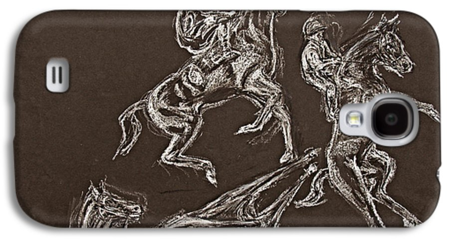 Rearing Horse Galaxy S4 Case featuring the drawing Ghost Riders In The Sky by Tom Conway