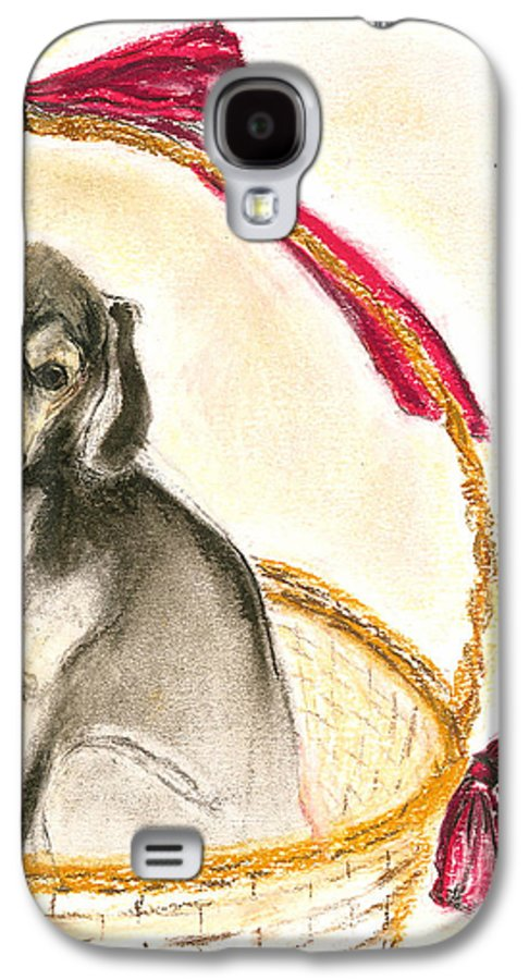 Dog Galaxy S4 Case featuring the drawing Gift Basket by Cori Solomon