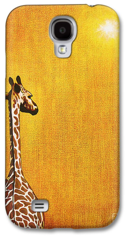 Giraffe Galaxy S4 Case featuring the painting Giraffe Looking Back by Jerome Stumphauzer