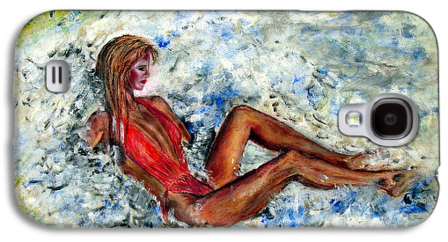 Girl Galaxy S4 Case featuring the painting Girl In A Red Swimsuit by Tom Conway