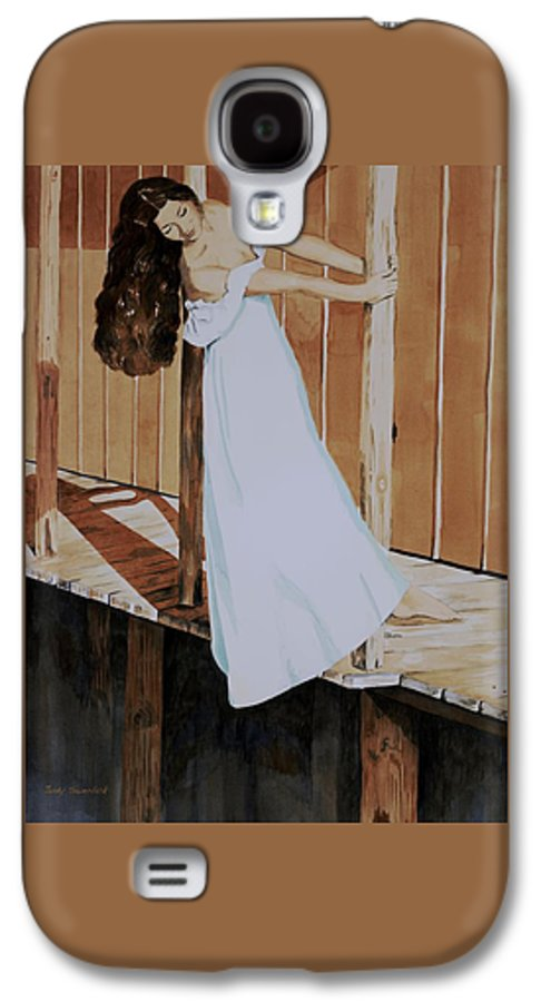 Girl On Dock Galaxy S4 Case featuring the painting Girl On Dock by Judy Swerlick