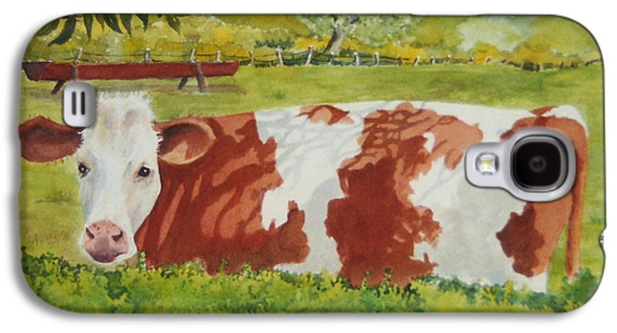 Cows Galaxy S4 Case featuring the painting Give Me Moooore Shade by Mary Ellen Mueller Legault