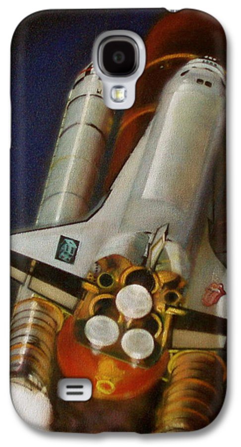 Space Shuttle;launch;liftoff;blastoff;rockets;engines;astronauts;spaceart;nasa;photorealism Galaxy S4 Case featuring the painting God Plays Dice by Sean Connolly