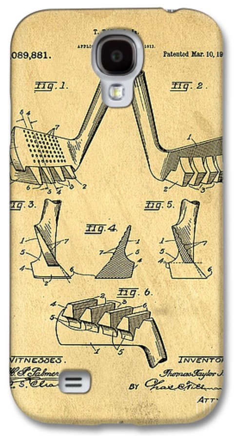 Patent Galaxy S4 Case featuring the drawing Golf Putter Patent by Edward Fielding