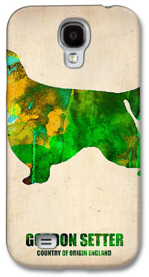 Gordon Setter Galaxy S4 Case featuring the painting Gordon Setter Poster 2 by Naxart Studio
