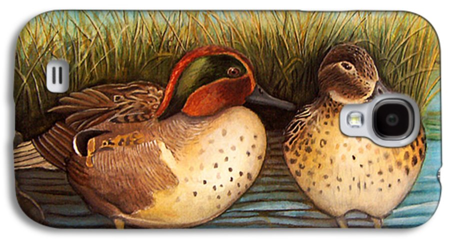 Rick Huotari Galaxy S4 Case featuring the painting Green Winged Teal by Rick Huotari