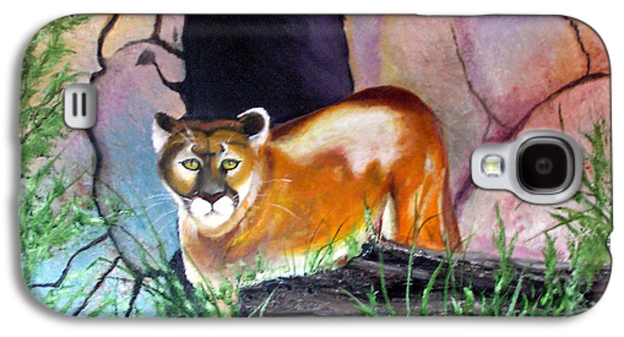 Big Cats Galaxy S4 Case featuring the painting Guarding The Cave by Lora Duguay