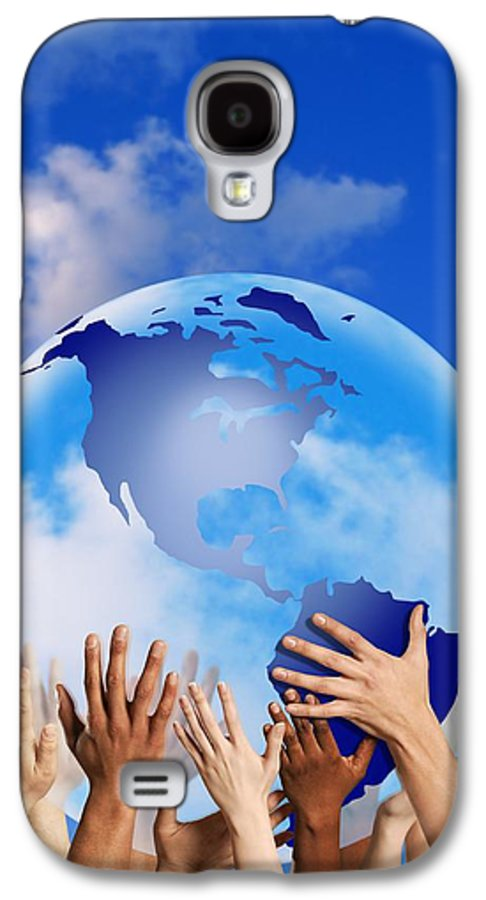 America Galaxy S4 Case featuring the photograph Hands Touching A Globe by Don Hammond