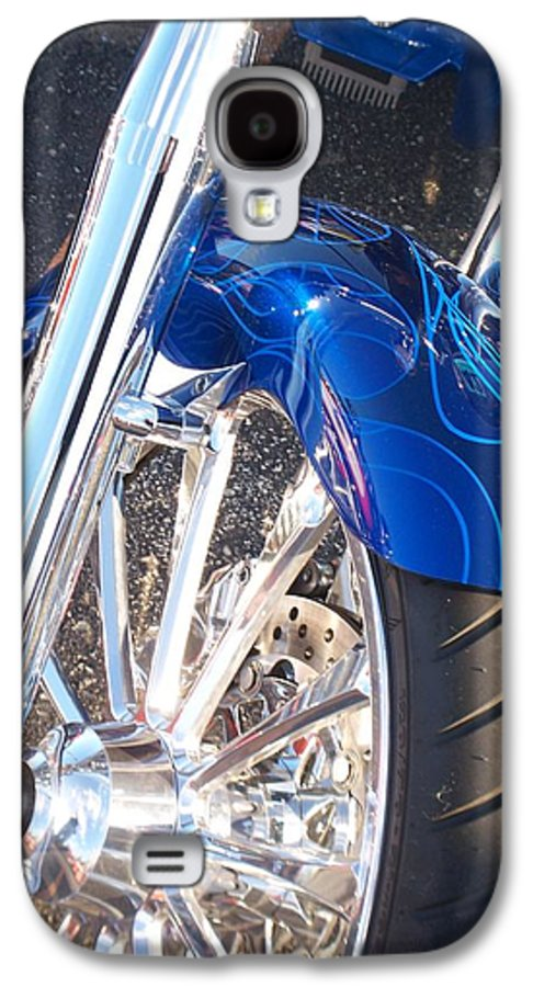 Motorcycles Galaxy S4 Case featuring the photograph Harley Close-up Blue Flame by Anita Burgermeister