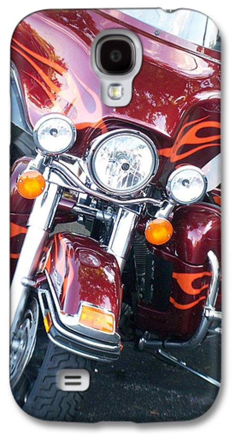 Motorcycles Galaxy S4 Case featuring the photograph Harley Red W Orange Flames by Anita Burgermeister
