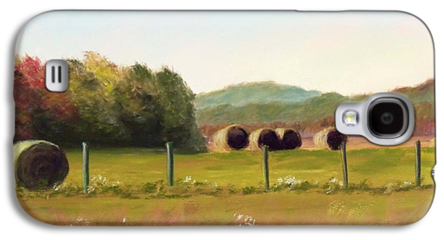 Hay Galaxy S4 Case featuring the painting Hay Bales In The Cove by Joan Swanson