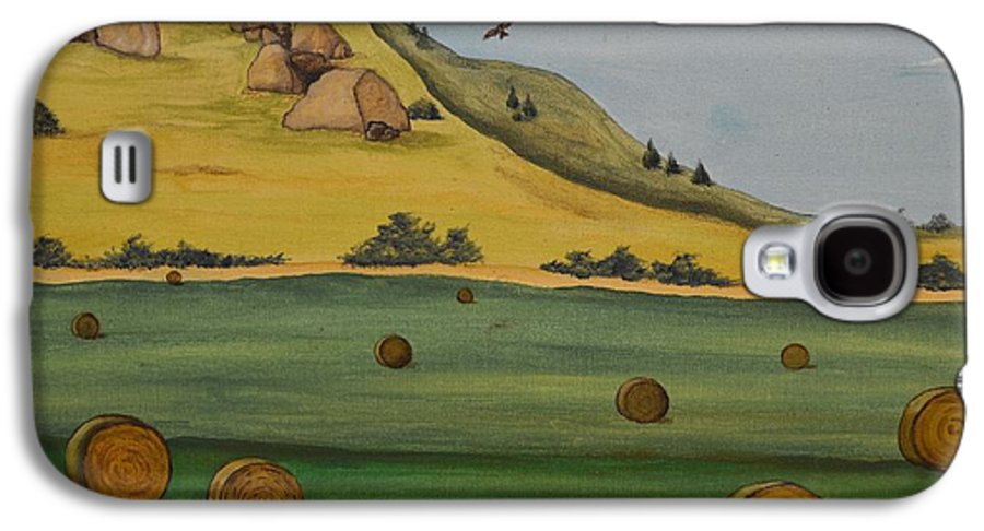 Landscape Galaxy S4 Case featuring the painting Haybales by Cassandra Barnhart
