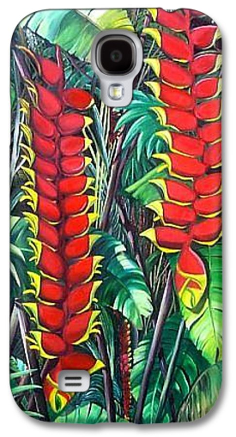 Heliconia Painting Hanging Red Heliconia Tropical Painting Galaxy S4 Case featuring the painting Heliconia Rostrata by Karin Dawn Kelshall- Best
