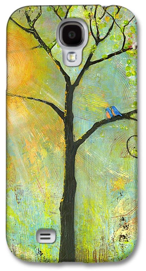 Nature Galaxy S4 Case featuring the painting Hello Sunshine Tree Birds Sun Art Print by Blenda Studio
