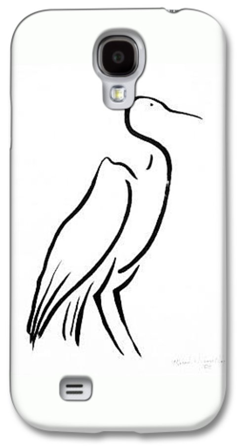 Calligraphy Galaxy S4 Case featuring the drawing Heron by Micah Guenther