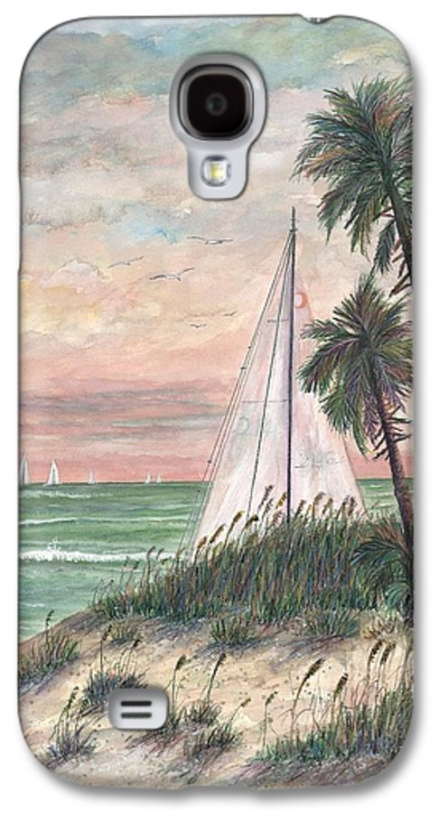 Sailboats; Palm Trees; Ocean; Beach; Sunset Galaxy S4 Case featuring the painting Hideaway by Ben Kiger