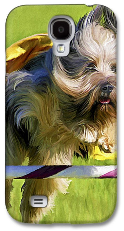 Silky Terrier Galaxy S4 Case featuring the painting High Flier by David Wagner