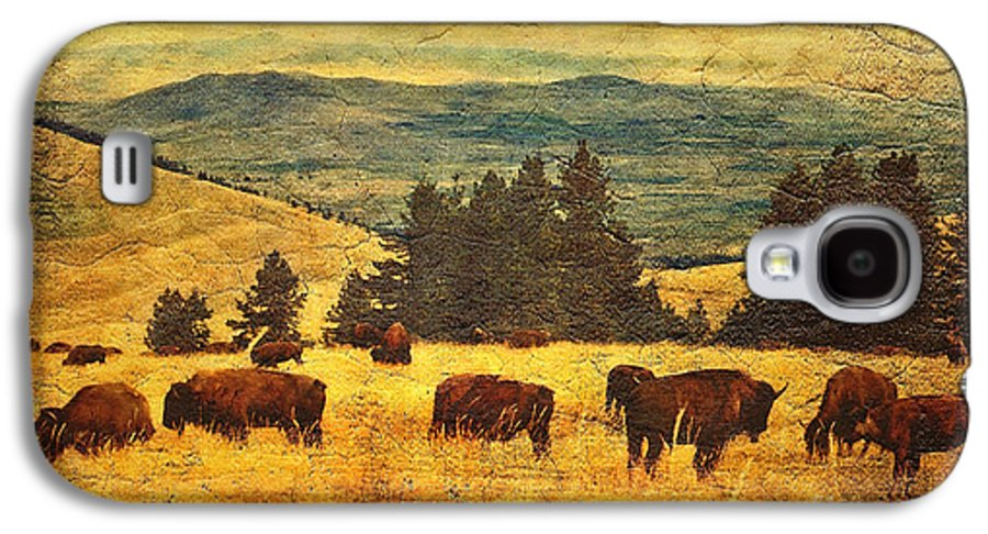 Buffalo Galaxy S4 Case featuring the digital art Home On The Range by Lianne Schneider