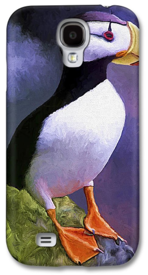 Animal Galaxy S4 Case featuring the painting Horned Puffin by David Wagner