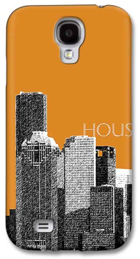 Architecture Galaxy S4 Case featuring the digital art Houston Skyline - Dark Orange by DB Artist