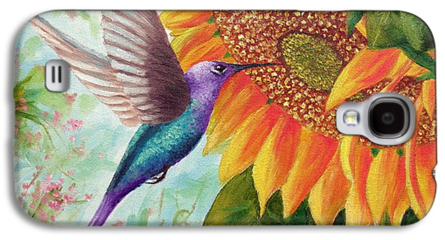 Hummingbird Galaxy S4 Case featuring the painting Humming For Nectar by David G Paul