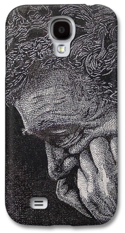 Portraiture Galaxy S4 Case featuring the drawing Introspection by Denis Gloudeman