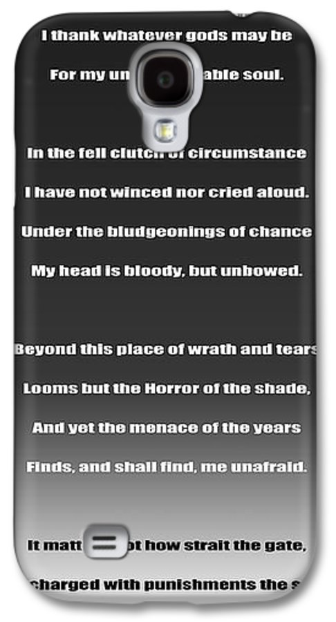Invictus Galaxy S4 Case featuring the digital art Invictus By William Ernest Henley by Daniel Hagerman
