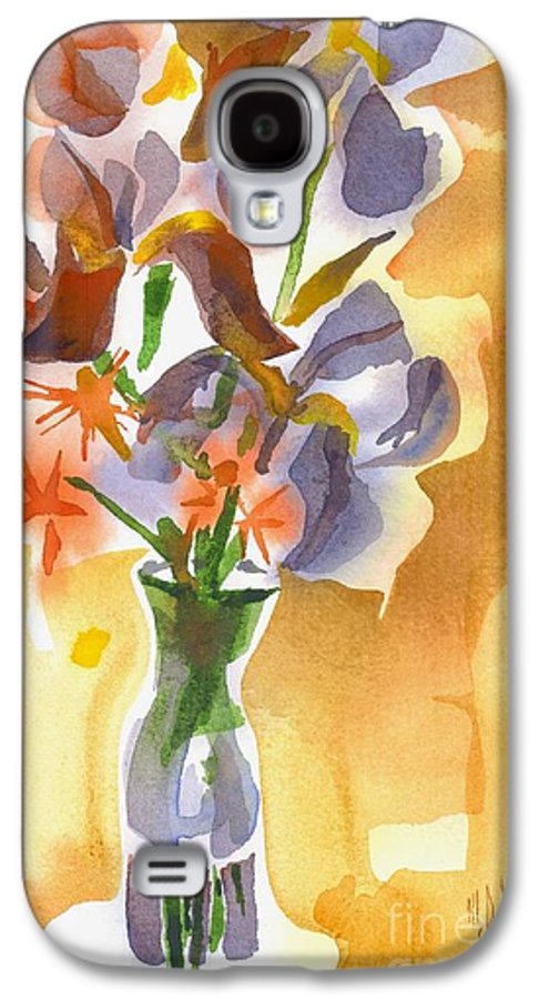 Irises With Stars Of Bethlehem Galaxy S4 Case featuring the painting Irises With Stars Of Bethlehem by Kip DeVore