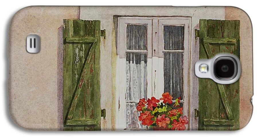 Watercolor Galaxy S4 Case featuring the painting Irvillac Window by Mary Ellen Mueller Legault