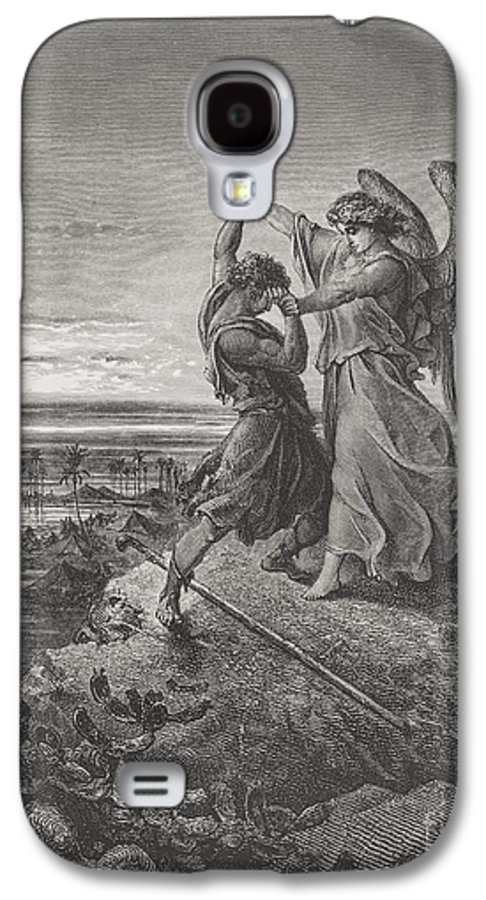Wrestle Galaxy S4 Case featuring the painting Jacob Wrestling With The Angel by Gustave Dore