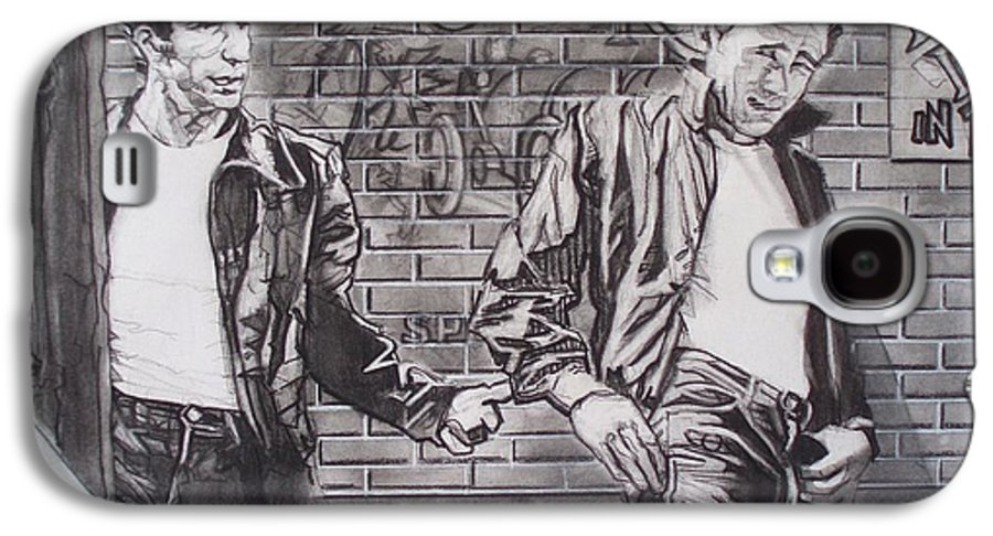 Americana Galaxy S4 Case featuring the drawing James Dean Meets The Fonz by Sean Connolly