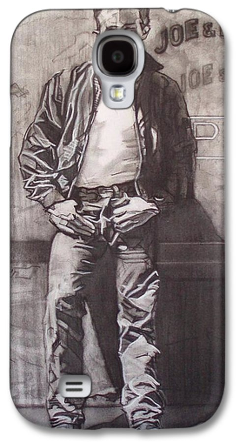 Charcoal; Icon;americana;cool;window;sidewalk;street;rock And Roll;jeans;t-shirt;diner;movie Star Galaxy S4 Case featuring the drawing James Dean by Sean Connolly