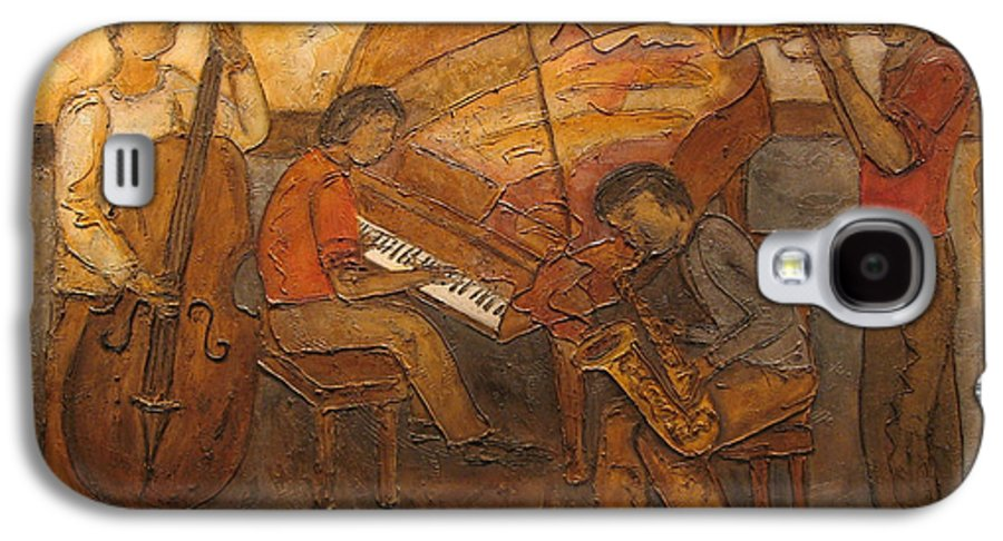 Impressionist Galaxy S4 Case featuring the painting Jazz Quartet by Anita Burgermeister