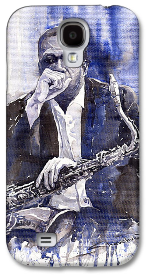 Jazz Galaxy S4 Case featuring the painting Jazz Saxophonist John Coltrane Blue by Yuriy Shevchuk